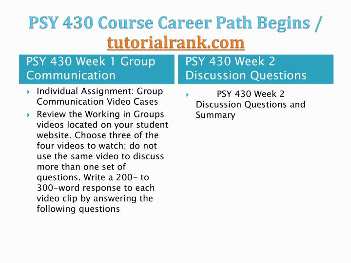 psy 230 week 2 powerpoint presentation Psy 450 week 2 cultural considerations presentation  powerpoint® presentation that provides this organization with scenarios that would help them to identify .