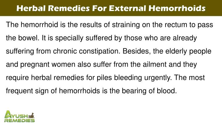 Herbal Remedies For External Hemorrhoids