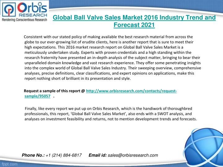 Global ball valve sales market 2016 industry trend and forecast 20211