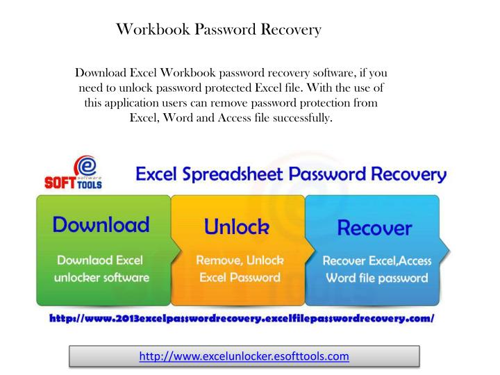 Download Excel Workbook password recovery software, if you need to unlock password protected Excel file. With the use of this application users can remove password protection from Excel, Word and Access file successfully.