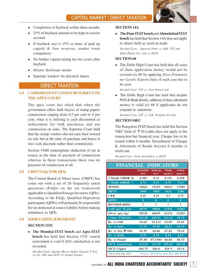CAPITAL MARKET / DIRECT TAXATION
