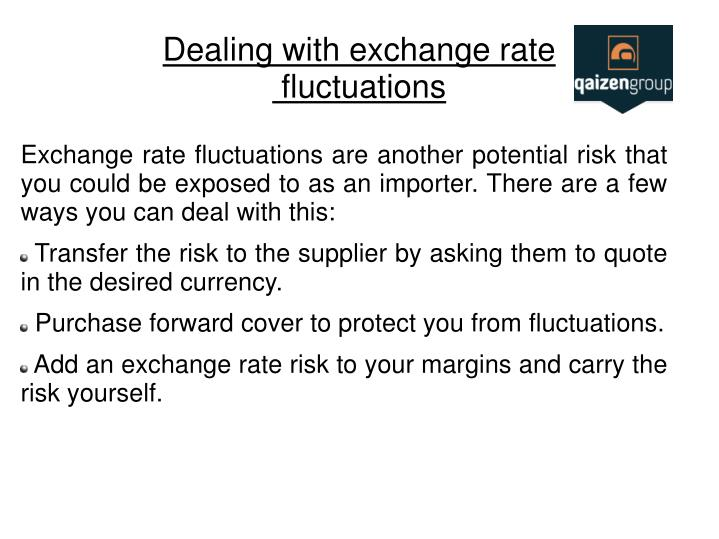 exchange rate fluctuations Exchange rate risk, also known as currency risk, is the financial risk arising from  fluctuations in the value of a base currency against a foreign.