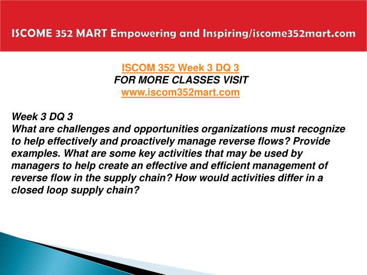 ISCOME 352 MART Empowering and Inspiring/iscome352mart.com