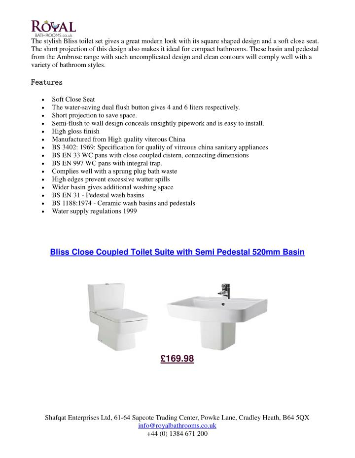 The stylish Bliss toilet set gives a great modern look with its square shaped design and a soft close seat.
