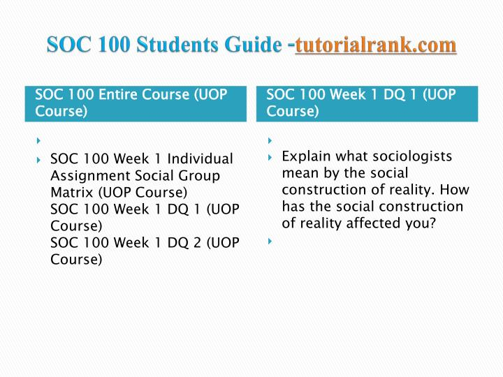 sociological group matrix soc 100 week 1 Soc 100 uop tutorial, soc 100 uop soc 100 week 2 learning team sociological.