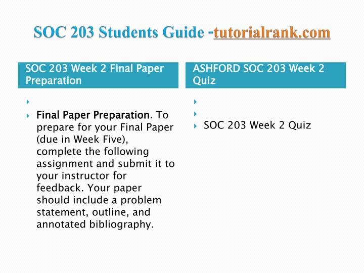 Soc 203 week 3 assignment research