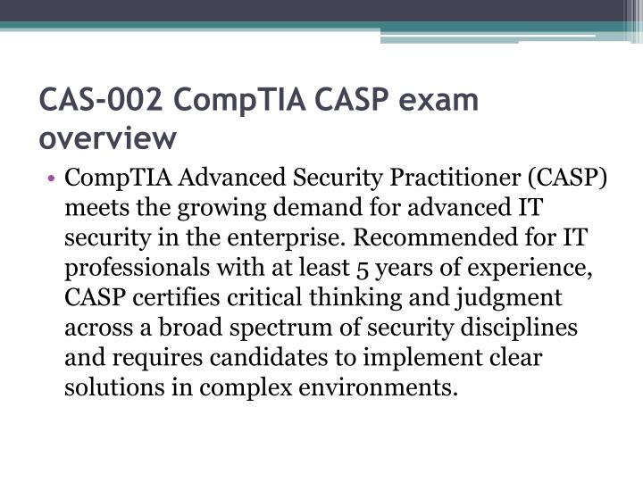 Cas 002 comptia casp exam overview