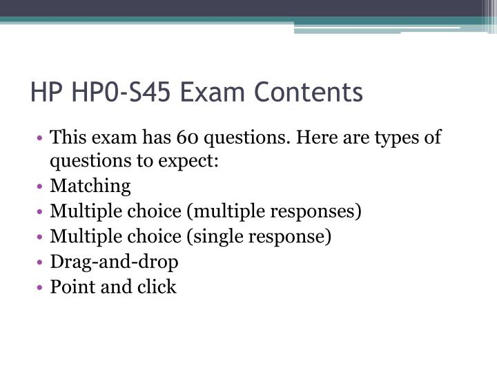 Hp hp0 s45 exam contents