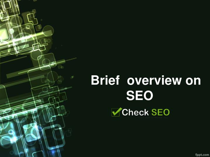 Brief overview on seo