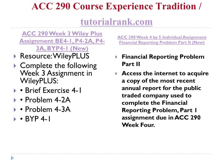 Acc 290 week 2 wileyplus assignment