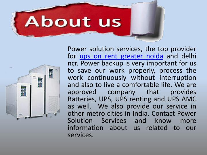 Power solution services, the top provider