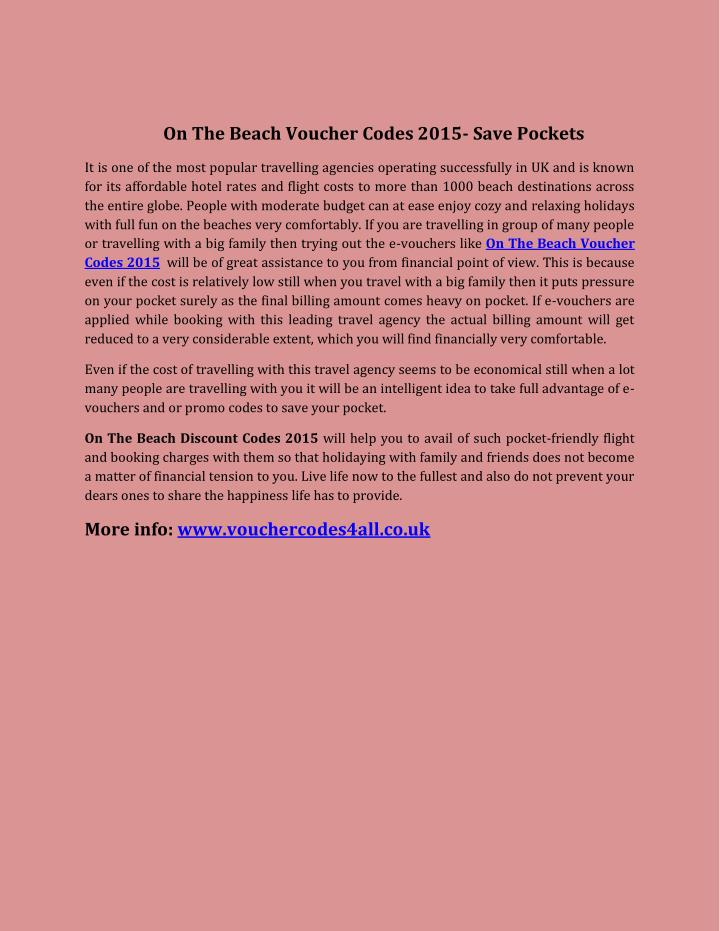 On The Beach Voucher Codes 2015- Save Pockets