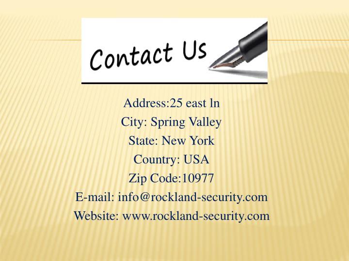 Address:25 east