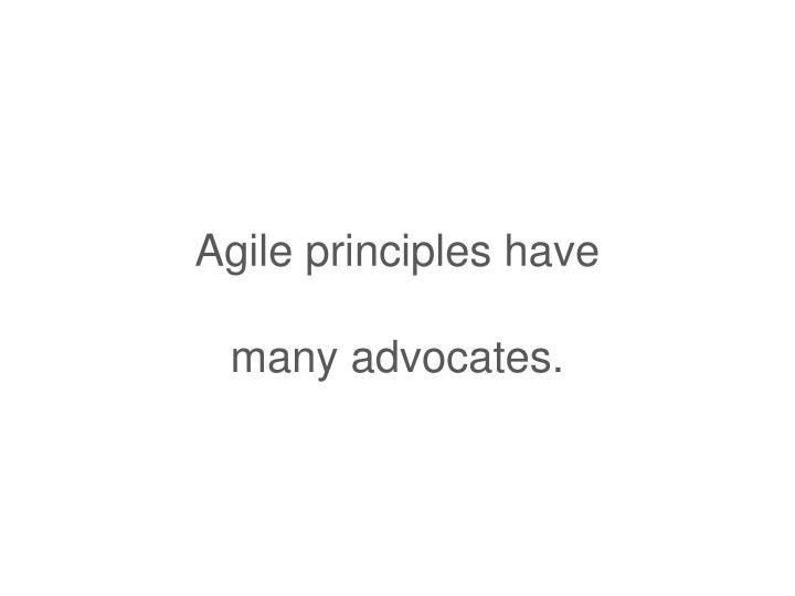 Agile principles have