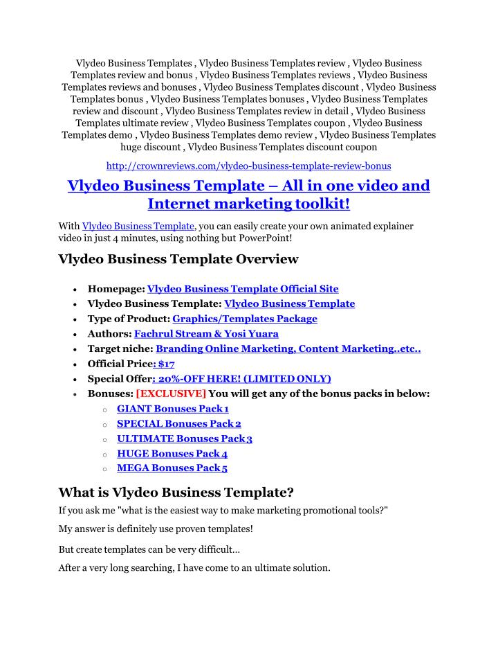 Vlydeo Business Templates