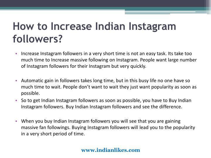 How to increase indian instagram followers