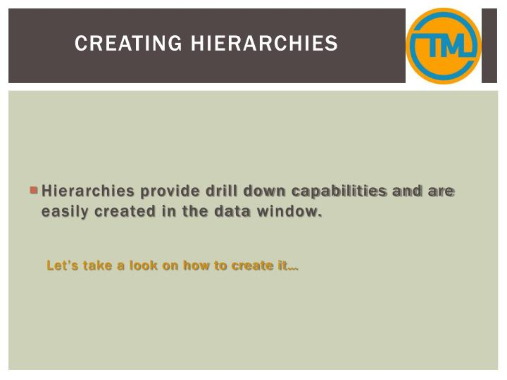 Creating Hierarchies