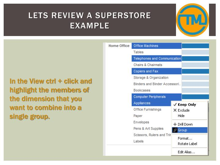 Lets review a superstore example
