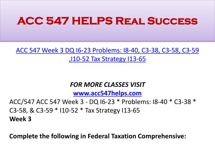 ACC 547 Complete Course