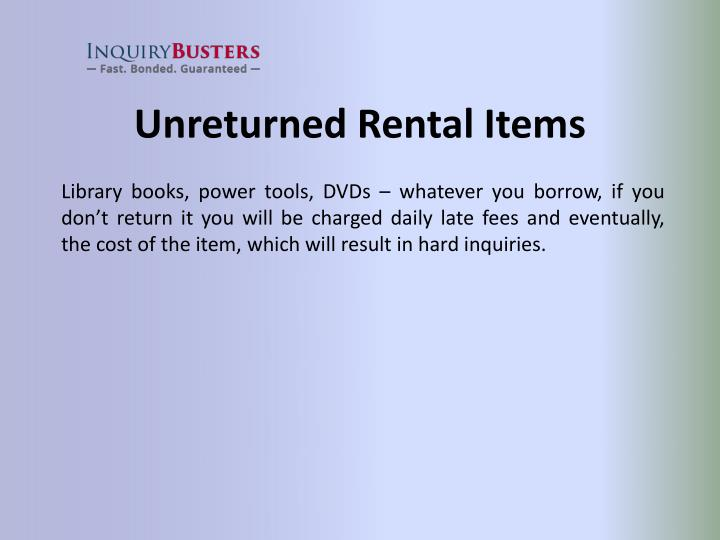 Unreturned Rental Items