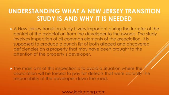 Understanding what a new jersey transition study is and why it is needed1