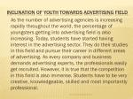 inclination of youth towards advertising field