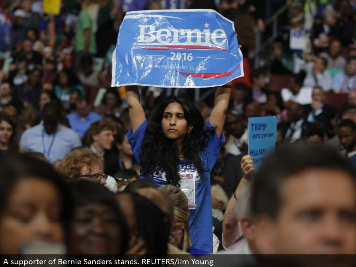 A supporter of Bernie Sanders stands. REUTERS/Jim Young