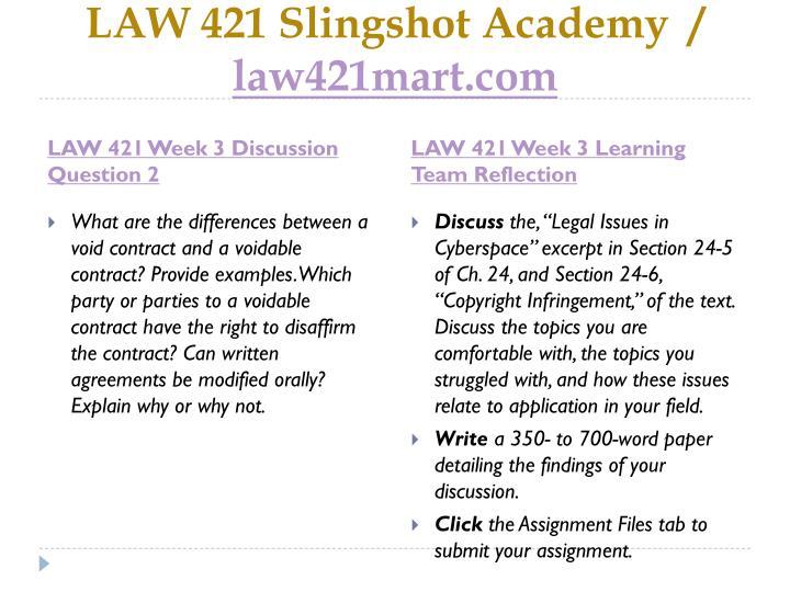 LAW 421 Slingshot Academy  /