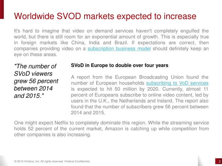 Worldwide SVOD markets expected to increase