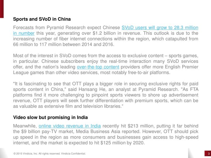 Sports and SVoD in China