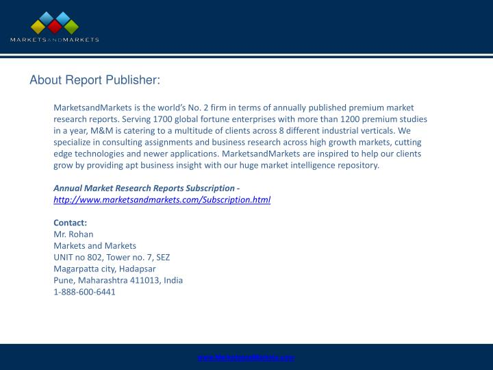 About Report Publisher: