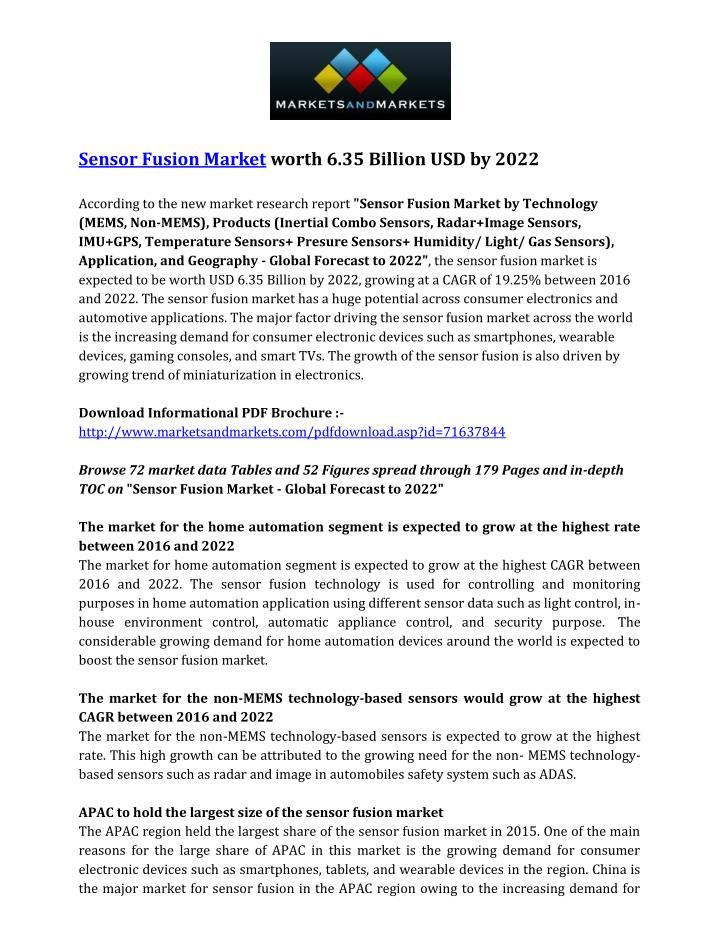 Sensor Fusion Market worth 6.35 Billion USD by 2022
