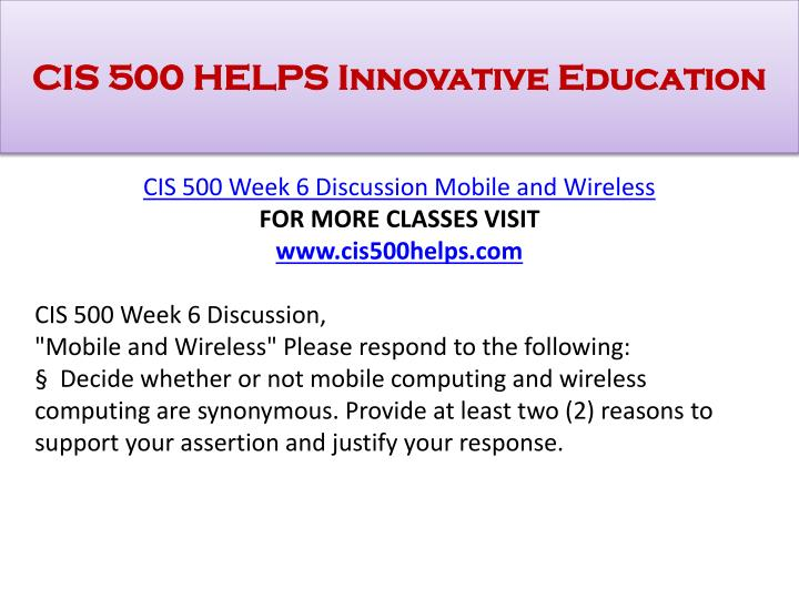 CIS 500 HELPS Innovative Education