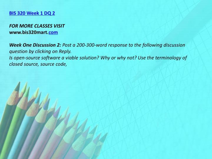 BIS 320 Week 1 DQ 2