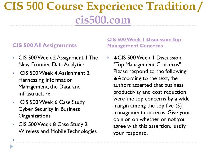 Cis 500 course experience tradition cis500 com1