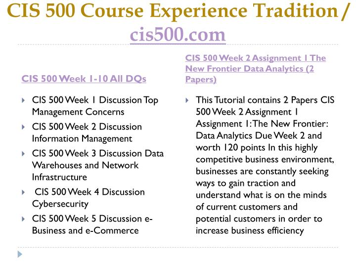 Cis 500 course experience tradition cis500 com2