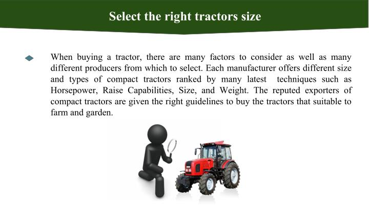 Select the right tractors size
