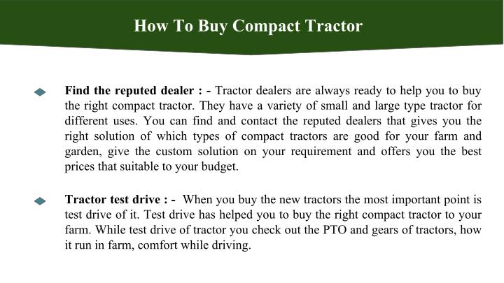 How To Buy Compact Tractor