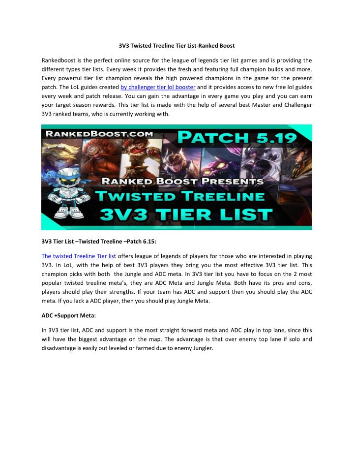 3V3 Twisted Treeline Tier List-Ranked Boost