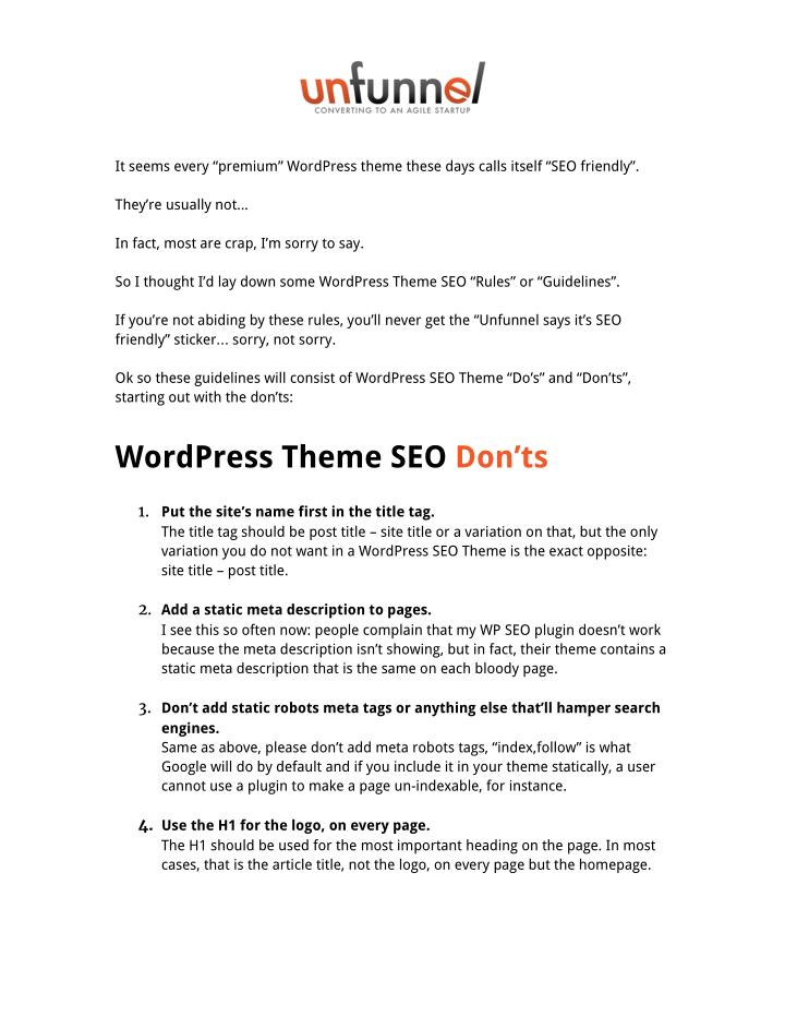 "It seems every ""premium"" WordPress theme these days calls itself ""SEO friendly""."