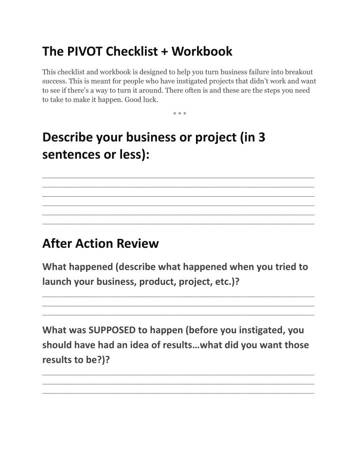 The PIVOT Checklist + Workbook