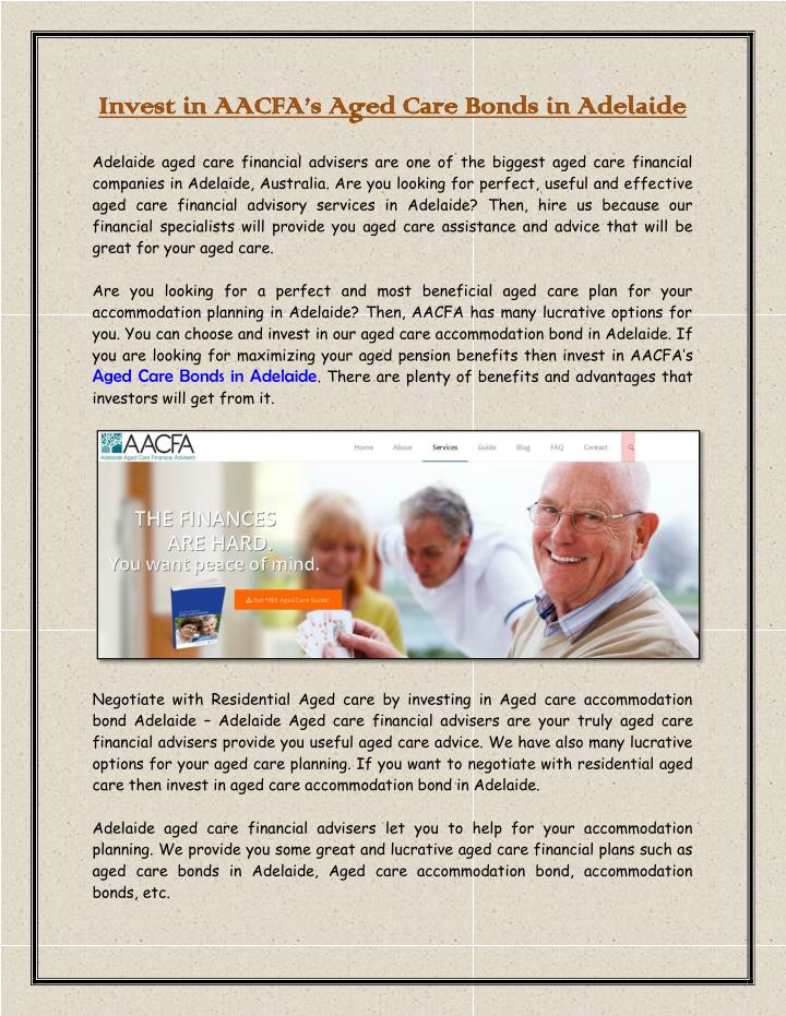 Invest in AACFA's Aged Care Bonds in Adelaide