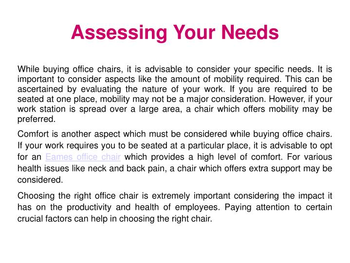 Assessing Your Needs