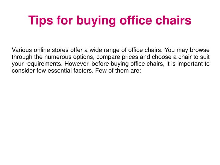 Tips for buying office chairs