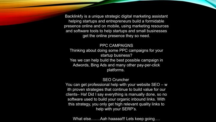 Backlinkfy is a unique strategic digital marketing assistant