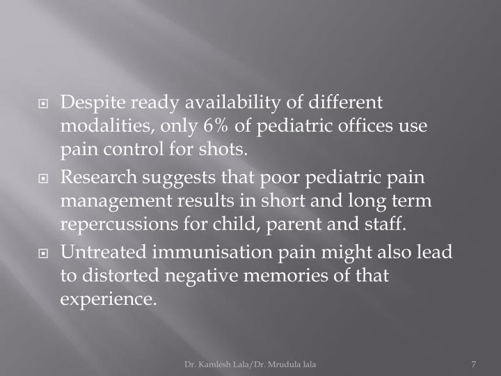 Despite ready availability of different modalities, only 6% of pediatric offices use pain control for shots.