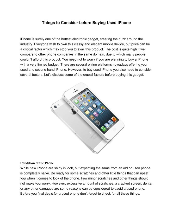Things to Consider before Buying Used iPhone
