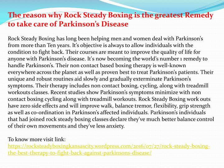 The reason why Rock Steady Boxing is the greatest Remedy to take care of Parkinson's Disease