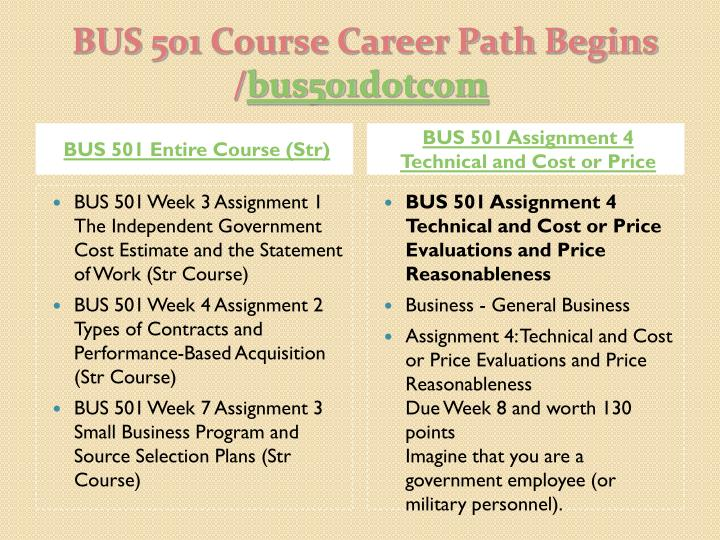 BUS 501 Entire Course (Str)