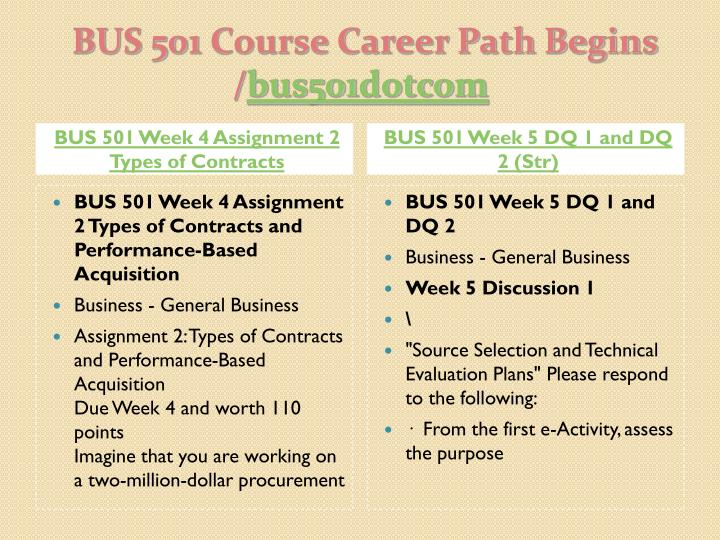 BUS 501 Week 4 Assignment 2 Types of Contracts